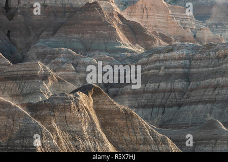 Buttes, Head of Saddle Pass Trail, Badlands NP, Autumn, S. Dakota, USA, by Dominique Braud/Dembinsky Photo Assoc - Stock Photo