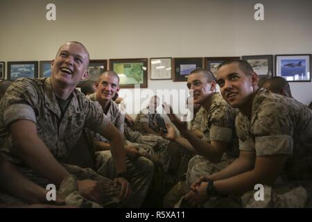 ROYAL AUSTRALIAN AIR FORCE BASE, Darwin – U.S. Marines with 3rd Battalion, 4th Marine Regiment, Marine Rotational Force Darwin 17.2 (MRF-D), share their excitement to be in Australia, April 18, 2017. More than 200 Marines arrived as part of the first wave of MRF-D personnel. A total of 1250 Marines are expected take part in this year's rotation. - Stock Photo