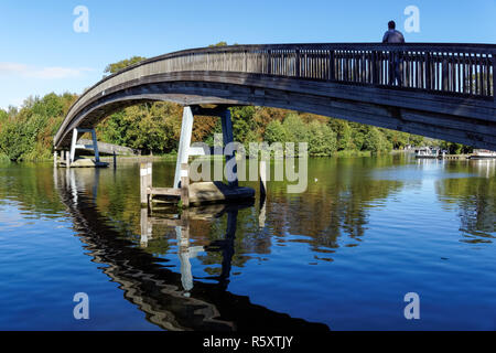Wooden footbridge near Temple Lock on the River Thames, England United Kingdom UK - Stock Photo