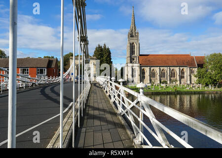 All Saints Church from Marlow suspension bridge, Buckinghamshire, England United Kingdom UK - Stock Photo