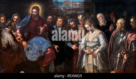 Christ and the Adulteress by Domenico Tintoretto (1560-1635), oil on canvas - Stock Photo