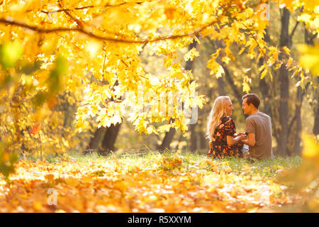 Photo from back of loving couple sitting on grass in autumn forest among trees - Stock Photo