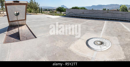 Antequera, Spain - July 10, 2018: Michael Hoskin Solar Center at entrance to Dolmen of Menga in Antequera. - Stock Photo