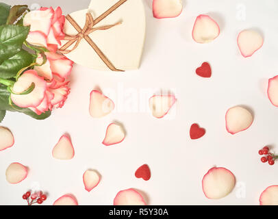 Festive flower English rose composition on the white background. Top view, flat lay. Birthday, Mother's, Valentines, Women's, Wedding Day concept. - Stock Photo