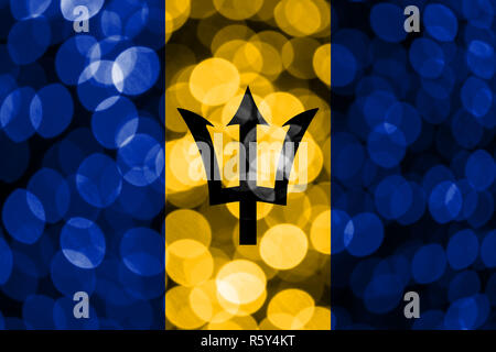 Barbados abstract blurry bokeh flag. Christmas, New Year and National day concept flag. - Stock Photo