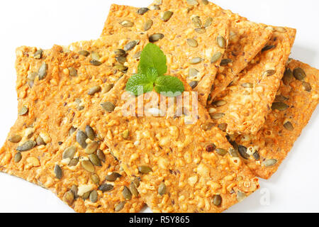 Pumpkin seed cheddar crackers - Stock Photo