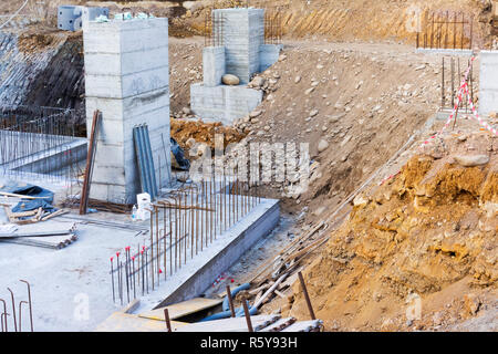 Assembling of metallic carpentry for reinforced concrete wall - Stock Photo