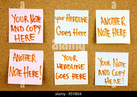 A yellow sticky note writing, caption, inscription board with six colorful sticky notes in black ext on a sticky note pinned to a cork notice board - Stock Photo
