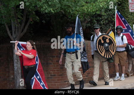 Charlottesville , Virginia , United States - August 12 , 2017 Unite the Right attracts neo-nazi groups and violent protesters - Stock Photo