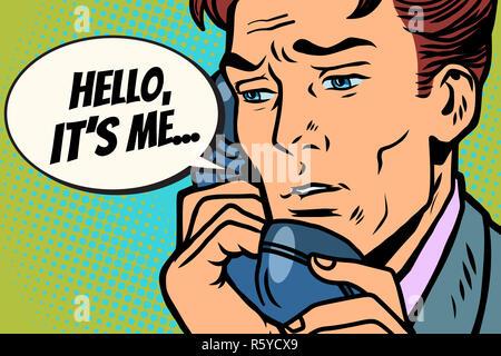 Pop art man talking on the phone Hello it is me - Stock Photo