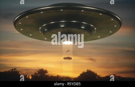 UFO Alien Abduction - Stock Photo