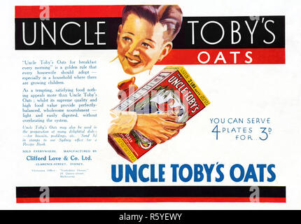 1932 Australian newspaper advertisement for Uncle Toby's Oats. - Stock Photo