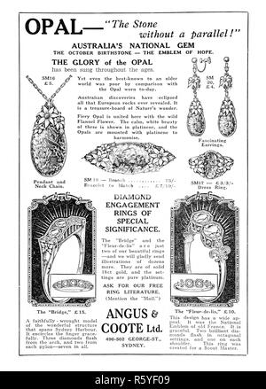 A 1932 Australian newspaper advertisement for opal jewellery by Angus & Coote Ltd. - Stock Photo