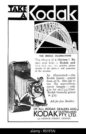A Kodak advertisement from a 1932 Australian newspaper at the time of the opening of the Sydney Harbour Bridge. - Stock Photo
