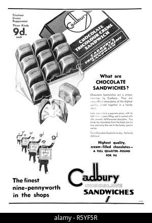 1932 Australian newspaper advertisement for Cadbury Chocolate Sandwiches. - Stock Photo