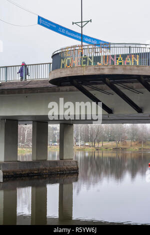 Banner and Text on a Bridge in Hämeenlinna Finland - Stock Photo