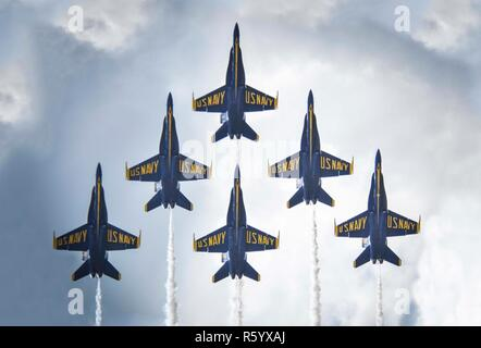 BELLE CHASSE, La. (April 22, 2017) The U.S. Navy flight demonstration squadron, the Blue Angels, perform at the 2017 New Orleans Air Show at Naval Air Station Joint Reserve Base New Orleans. ( - Stock Photo