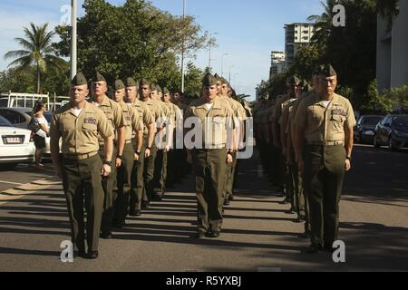 DARWIN, Australia – U.S. Marines with 3rd Battalion, 4th Marine Regiment, 1st Marine Division, Marine Rotational Darwin 17.2, stand ready to march during Australian and New Zealand Army Corps (ANZAC) Day, April 25, 2017. ANZAC Day is observed on April 25th and is a national day of remembrance in Australia and New Zealand that commemorates their countrymen who served and gave all at Gallipoli against the Ottoman Empire in World War I. - Stock Photo