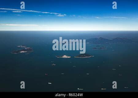 Aerial shot of the Soko Islands. A group of islands in Hong Kong to the southwest of Lantau Island in the South China Sea. - Stock Photo