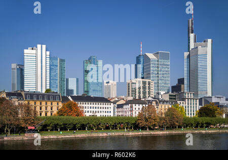 silhouette bahnhofsviertel in frankfurt am main in autumn - Stock Photo