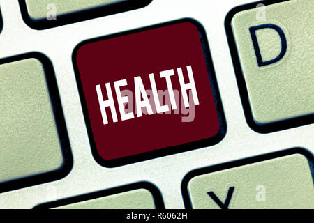 Word writing text Health. Business concept for State of being free from Illness Injuries Mental Physical condition. - Stock Photo