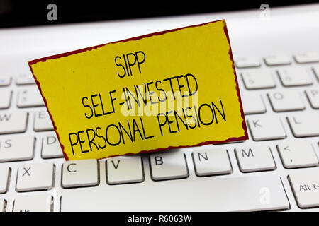 Handwriting text writing Sipp Self Invested Personal Pension. Concept meaning Preparing the future Save while young. - Stock Photo
