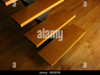 Wooden staircase in a house - Stock Photo