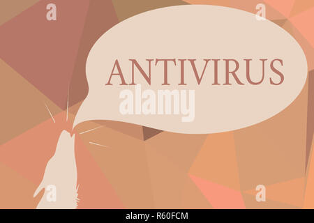 Writing note showing Antivirus. Business photo showcasing software designed to detect and destroy computer viruses Contour shape of Wolf Head Pointing - Stock Photo