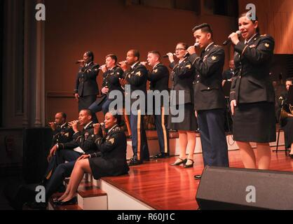The U.S. Army Europe's Soldiers Chorus singing Queen's 'Somebody to Love' at the historic Great Guild Hall in Riga, Latvia. - Stock Photo