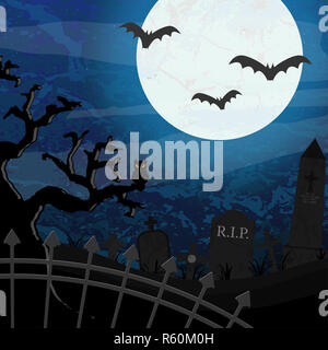 halloween graveyard and bats in front of full moon - Stock Photo