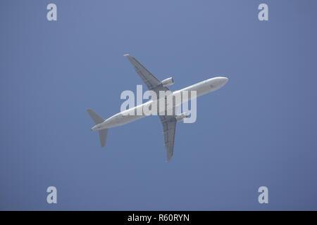 Chiangmai, Thailand - November 29 2018: B-16206 Airbus A321 of EvaAir. take off from Chiangmai Airport to taipei Taiwan. - Stock Photo