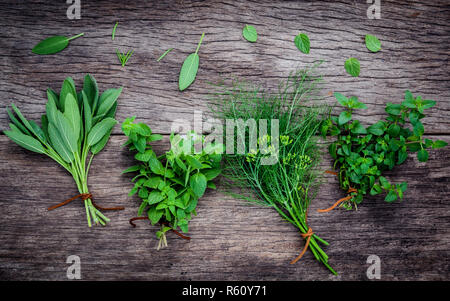 Various aromatic herbs and spices from garden fennel ,rosemary,oregano, sage and peppermint set up on old wooden background .. - Stock Photo
