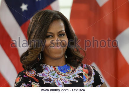 File photo dated 16/06/15 of former US first lady Michelle Obama, who is set to address a live audience about her personal journey to becoming First Lady and her time in the White House. The lawyer and wife of former president Barack Obama will speak to a London audience about her memoir Becoming. - Stock Photo