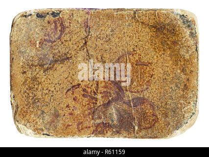 Weathered grunge dirty cardboard isolated on white background - Stock Photo