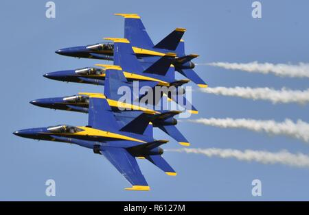 BARKSDALE, La. (May. 5, 2017) The U.S. Navy flight demonstration squadron, the Blue Angels, performs the Echelon Parade during the Defenders of Liberty Air Show. The Blue Angels are scheduled to perform more than 60 demonstrations across the U.S. in 2017. - Stock Photo