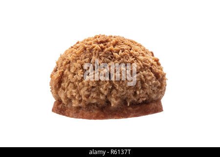 Coconut cookies with nuts isolated on white background - Stock Photo