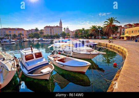 Supetar on Brac island turquoise waterfront view at sunset - Stock Photo