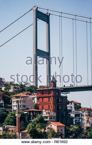 ISTANBUL, TURKEY - MAY 12, 2010: Yusuf Ziya Pasha Mansion and The Fatih Sultan Mehmed Bridge in Istanbul - Stock Photo