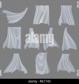 White Cloth Set Vector. Billowing Clear Curly Curtain Transparent White Cloth. Fluttering Curved Fabric Silk. Window Home Decoration. Realistic Clear Material Illustration - Stock Photo