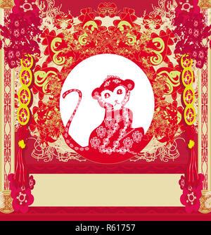 chinese zodiac signs: monkey - Stock Photo