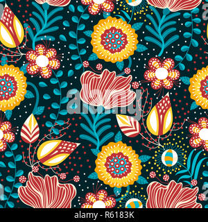 Floral seamless pattern. Hand drawn creative flowers in folk style. Colorful artistic background. Abstract herb - Stock Photo