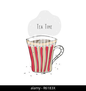 Tea time. Striped cup with hot drink. Line design. Doodle. Poster, logo, emblem, icon for cafe or restaurant - Stock Photo
