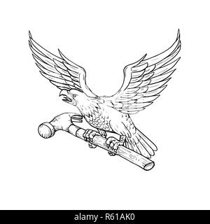 Eagle Clutching Hammer Drawing - Stock Photo