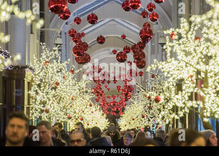 Christmas lights and decorations in the Burlington arcade. - Stock Photo