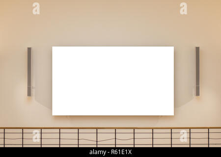Mock up. Blank billboard banner poster display on the wall inside - Stock Photo