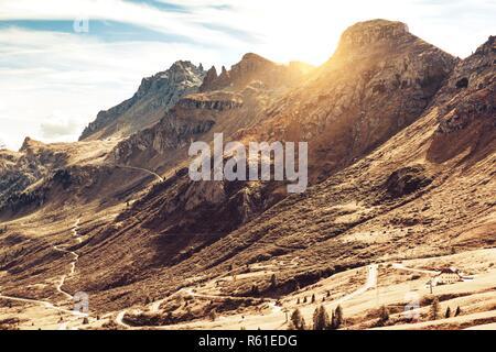 Beautiful mountain landscape around the Pass Pordoi. Dolomites, Italy - Stock Photo