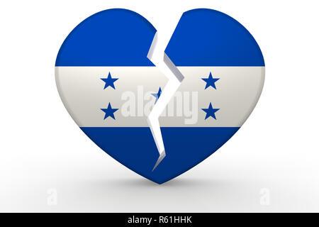 Broken white heart shape with Honduras flag - Stock Photo