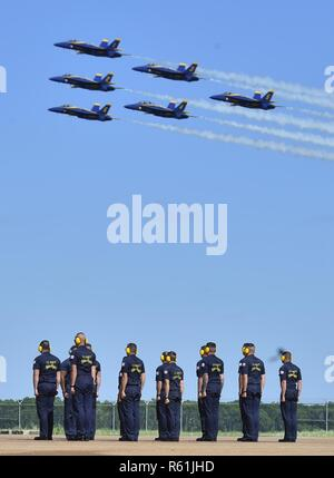 BARKSDALE, La. (May. 5, 2017) The U.S. Navy flight demonstration squadron, the Blue Angels, perform a flight demonstration during the Defenders of Liberty Air Show. The Blue Angels are scheduled to perform more than 60 demonstrations across the U.S. in 2017. - Stock Photo
