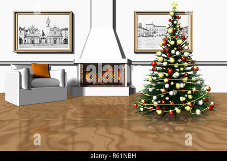 3D illustration. Christmas. Living room with fireplace and Christmas tree. - Stock Photo
