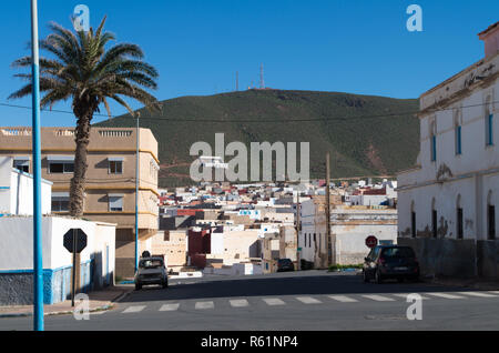 Inner city view towards a small mountain in Sidi Ifni, Morocco - Stock Photo